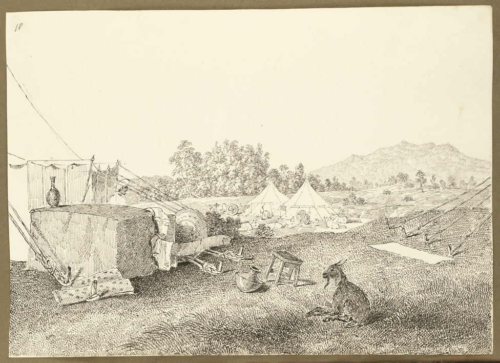 Encampment at Angwali (Bihar); goat, covered palanquin and camp equipment in foreground. 9 February 1823